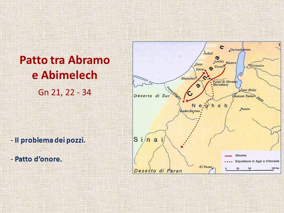 Patto tra Abramo e Abimelech Gn 21, 22 - 34 Il problema dei pozzi.