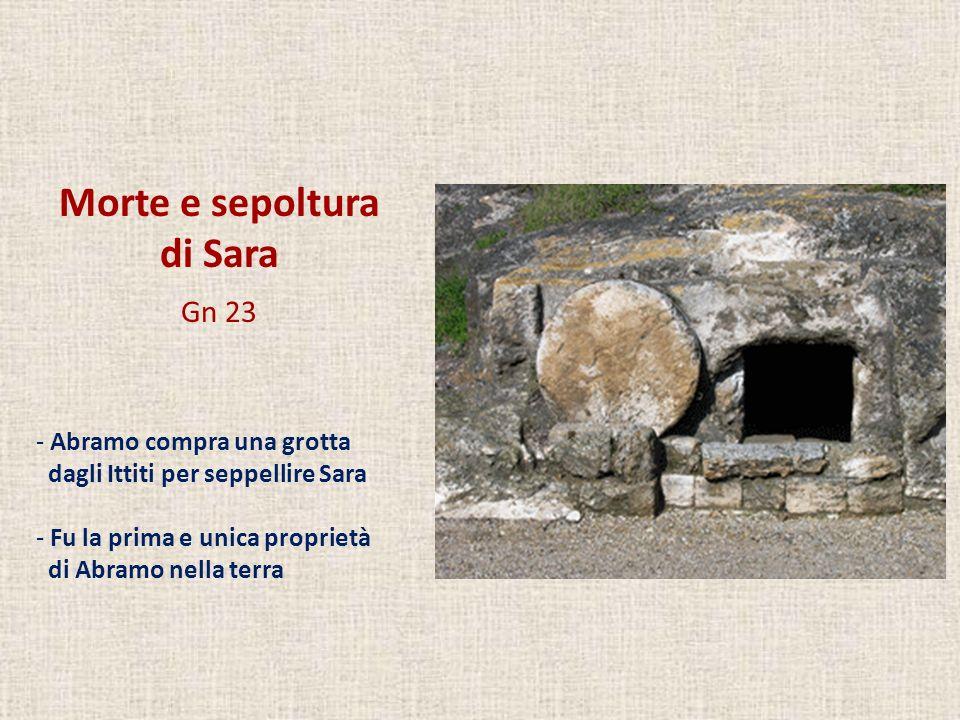Morte e sepoltura di Sara Gn 23 Abramo compra una grotta