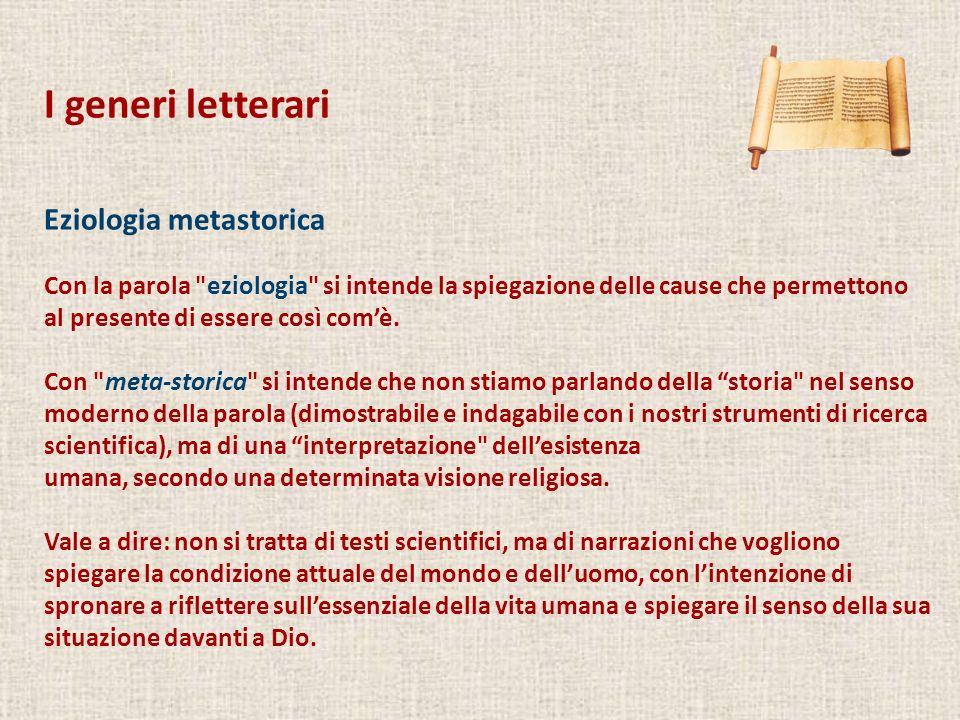 I generi letterari Eziologia metastorica