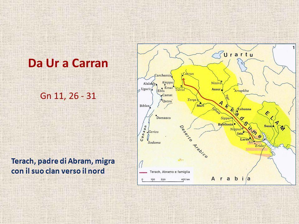 Da Ur a Carran Gn 11, 26 - 31 Terach, padre di Abram, migra