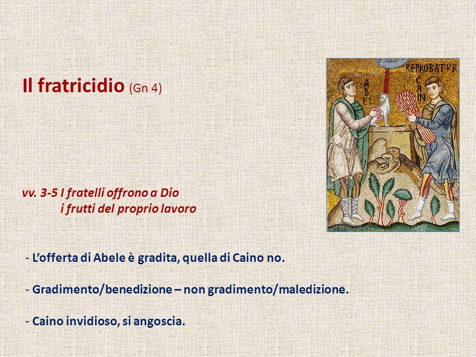 Il fratricidio (Gn 4) vv. 3-5 I fratelli offrono a Dio
