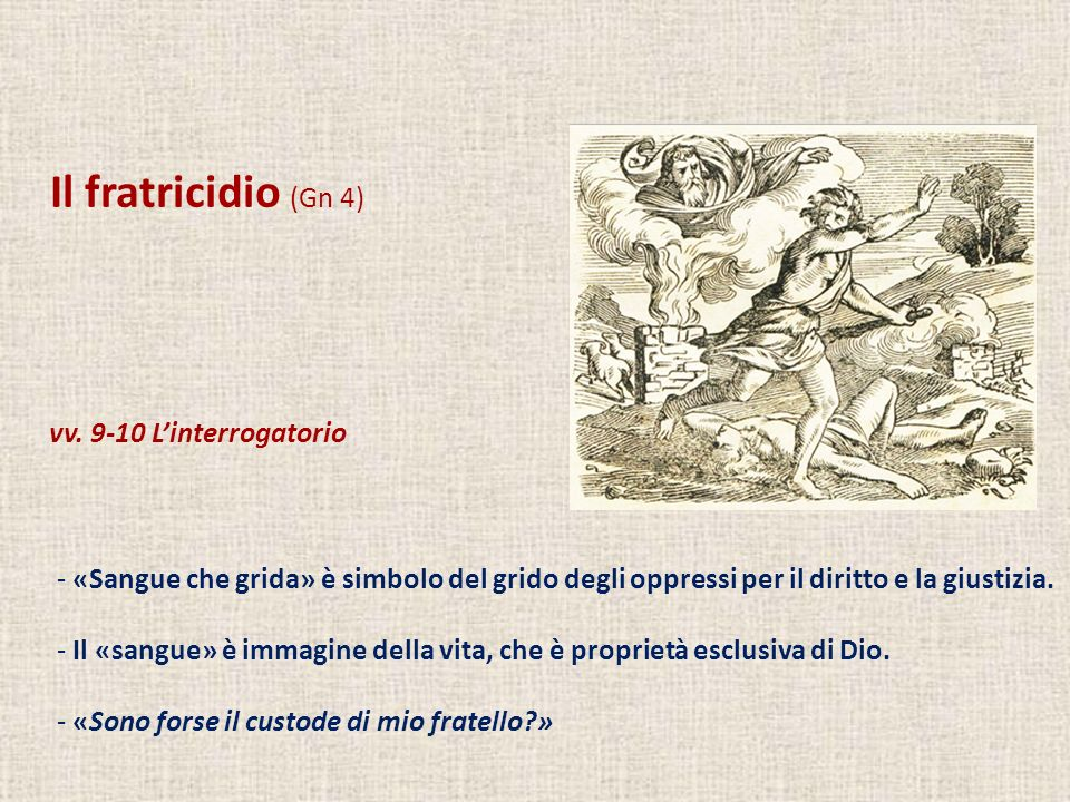 Il fratricidio (Gn 4) vv. 9-10 L'interrogatorio