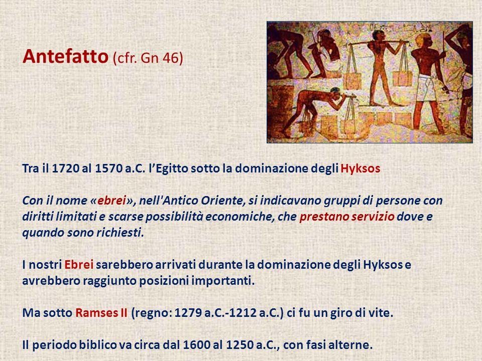 Antefatto (cfr. Gn 46) Tra il 1720 al 1570 a.C. l'Egitto sotto la dominazione degli Hyksos.