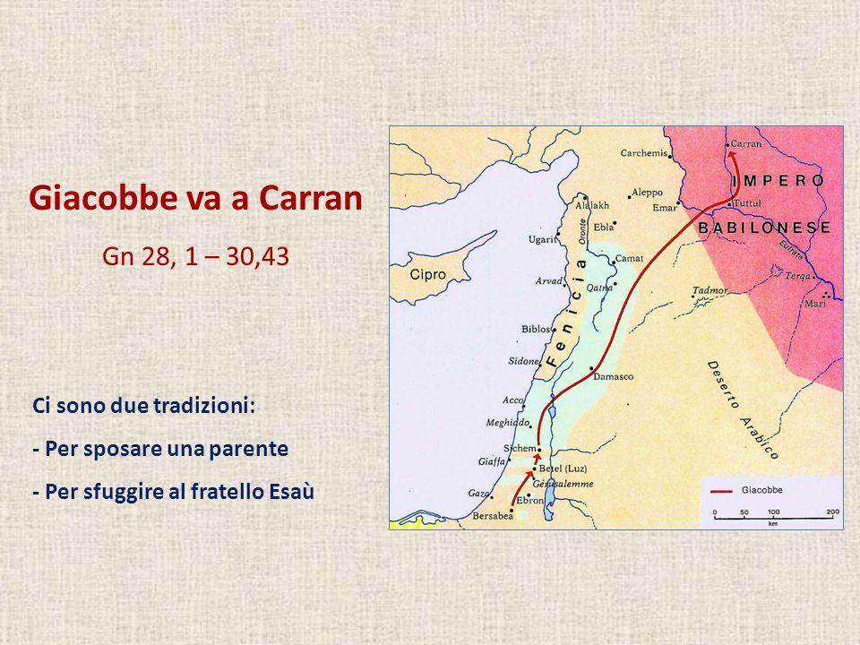 Giacobbe va a Carran Gn 28, 1 – 30,43 Ci sono due tradizioni: