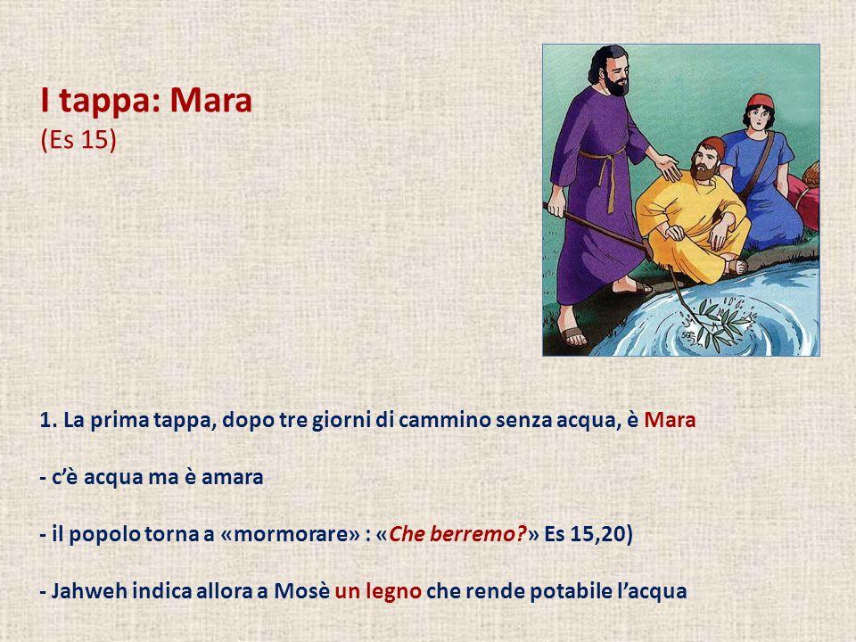 I tappa: Mara (Es 15) 1. La prima tappa, dopo tre giorni di cammino senza acqua, è Mara. - c'è acqua ma è amara.