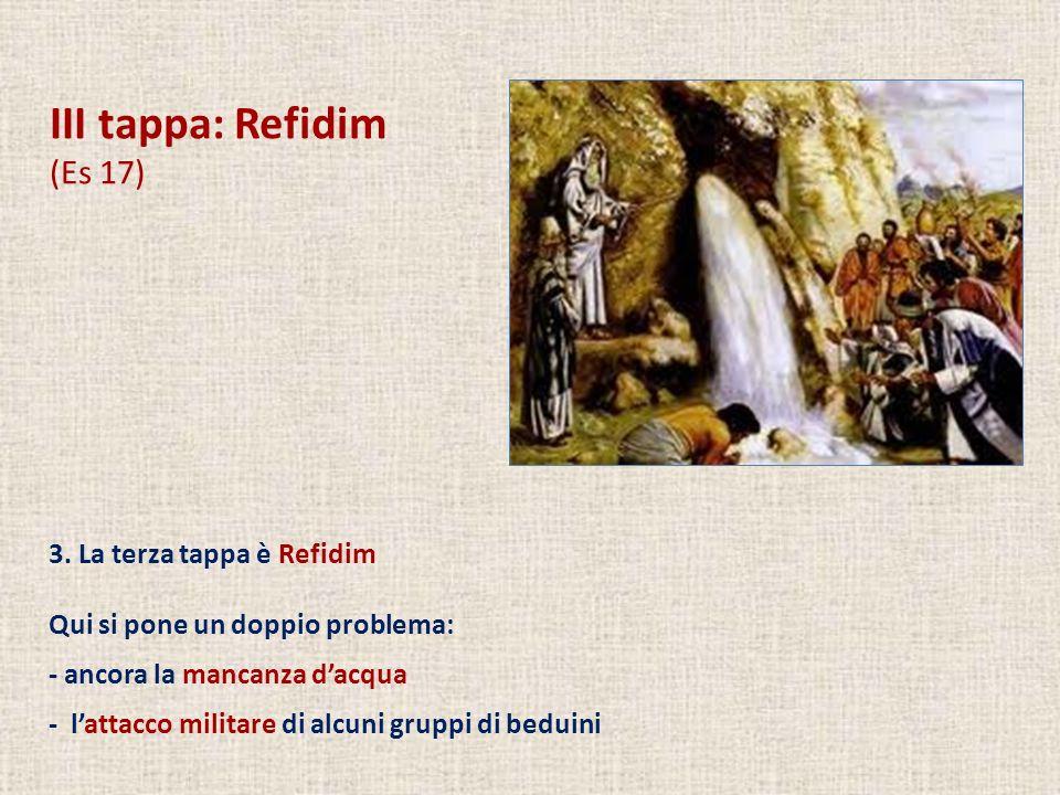 III tappa: Refidim (Es 17) 3. La terza tappa è Refidim