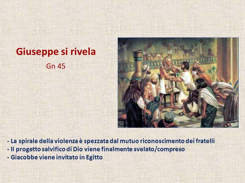 Giuseppe si rivela Gn 45. - La spirale della violenza è spezzata dal mutuo riconoscimento dei fratelli.