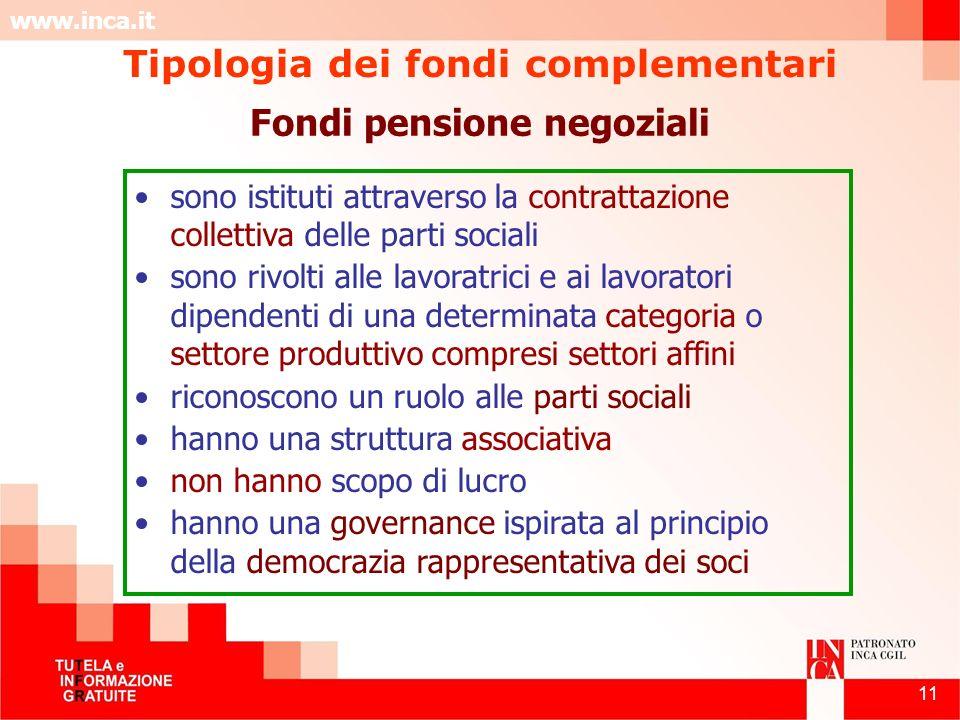 Tipologia dei fondi complementari Fondi pensione negoziali
