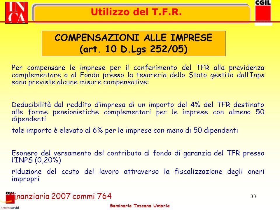 COMPENSAZIONI ALLE IMPRESE (art. 10 D.Lgs 252/05)
