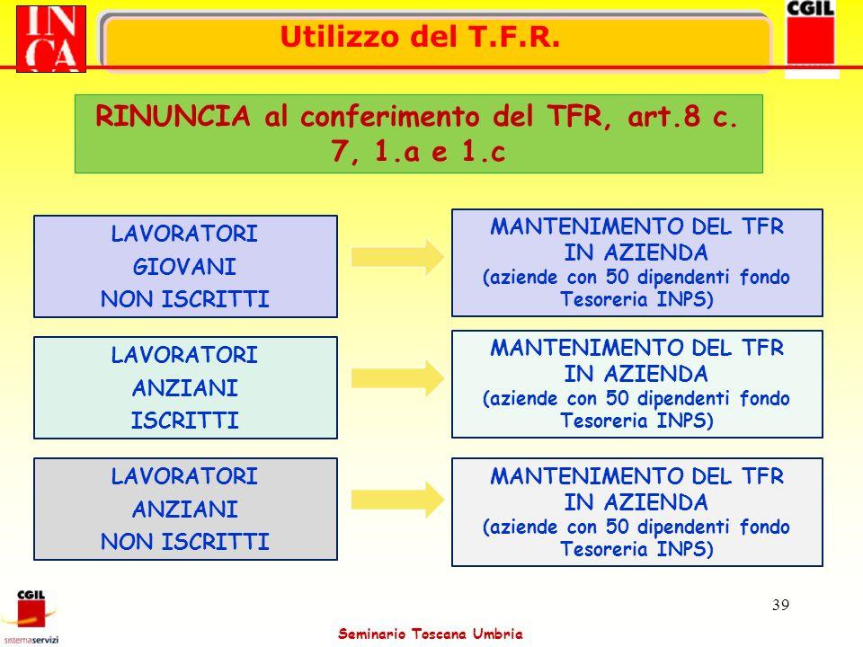 RINUNCIA al conferimento del TFR, art.8 c. 7, 1.a e 1.c