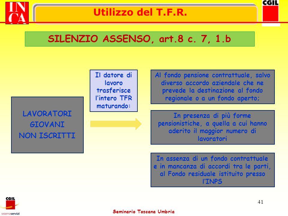 SILENZIO ASSENSO, art.8 c. 7, 1.b