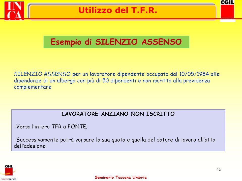 Esempio di SILENZIO ASSENSO LAVORATORE ANZIANO NON ISCRITTO
