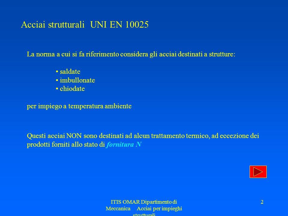 ITIS OMAR Dipartimento di Meccanica Acciai per impieghi strutturali