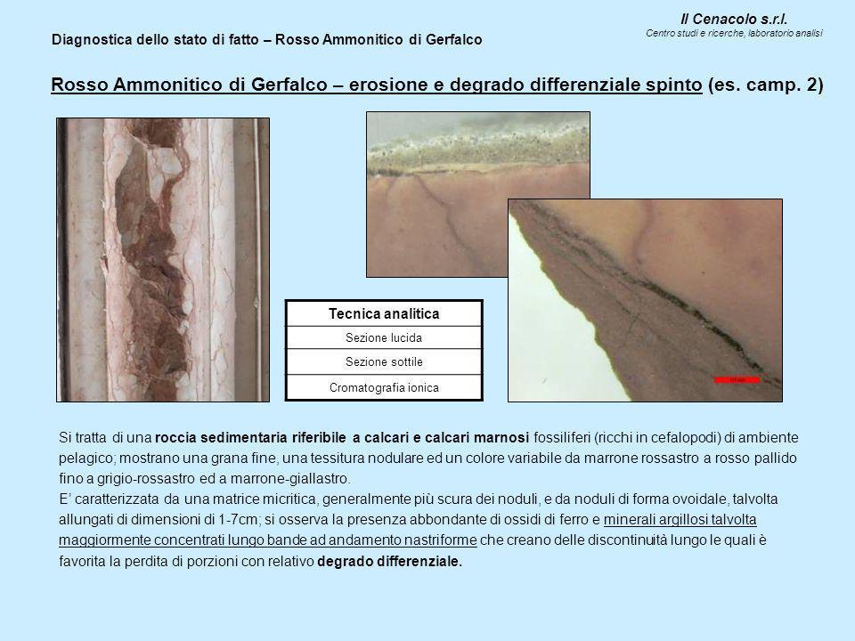 Diagnostica dello stato di fatto – Rosso Ammonitico di Gerfalco