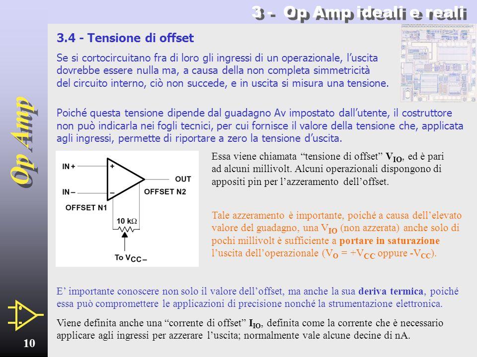 3 - Op Amp ideali e reali 3.4 - Tensione di offset