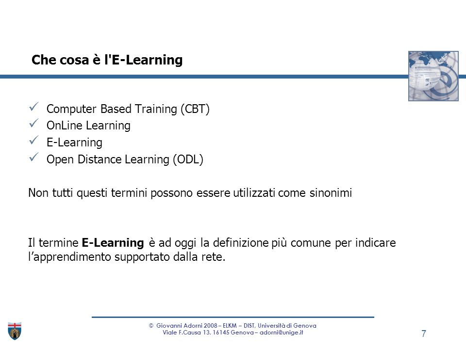 Che cosa è l E-Learning Computer Based Training (CBT) OnLine Learning