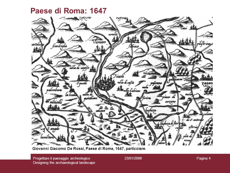 Paese di Roma: 1647 Giovanni Giacomo De Rossi, Paese di Roma, 1647, particolare.