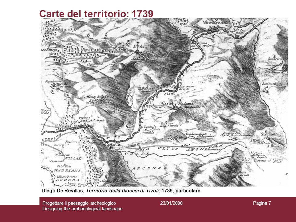 Carte del territorio: 1739 Diego De Revillas, Territorio della diocesi di Tivoli, 1739, particolare.