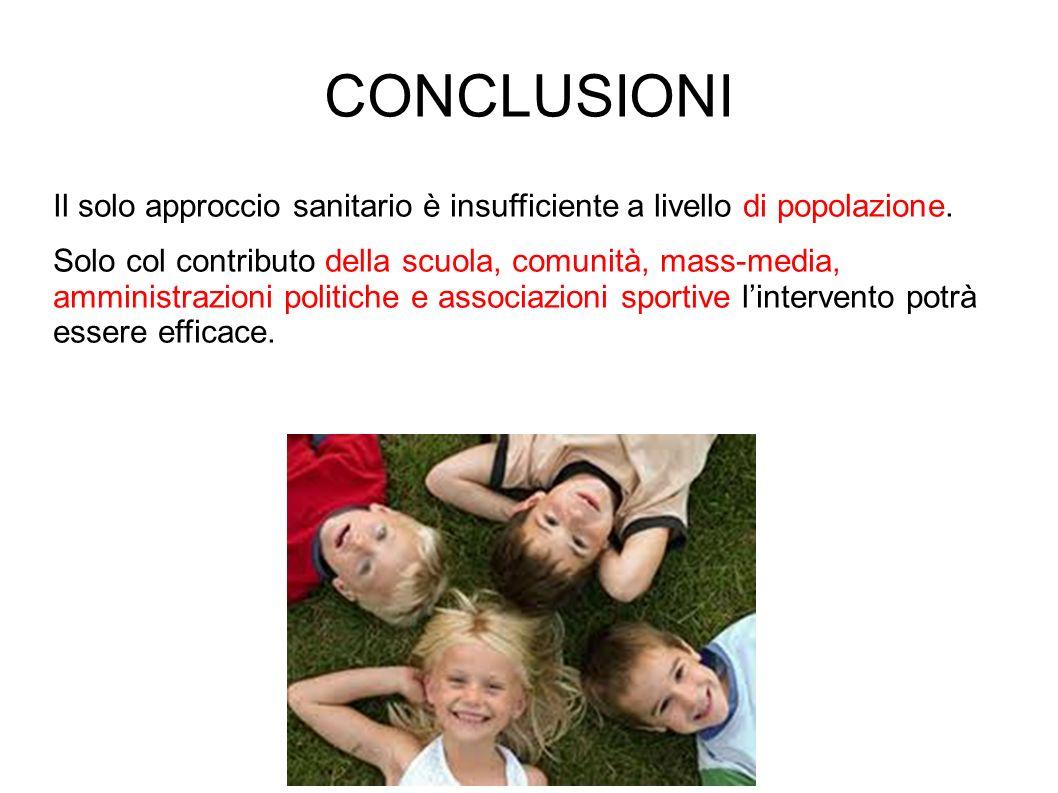CONCLUSIONI Il solo approccio sanitario è insufficiente a livello di popolazione.