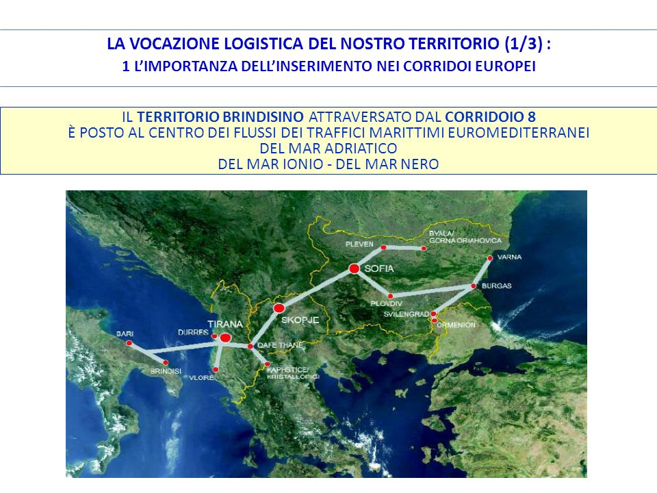 LA VOCAZIONE LOGISTICA DEL NOSTRO TERRITORIO (1/3) : 1 L'IMPORTANZA DELL'INSERIMENTO NEI CORRIDOI EUROPEI