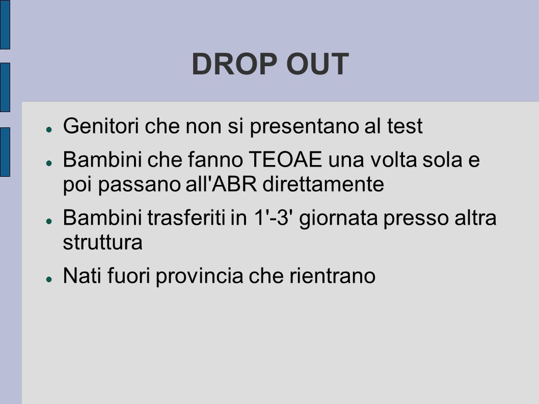 DROP OUT Genitori che non si presentano al test