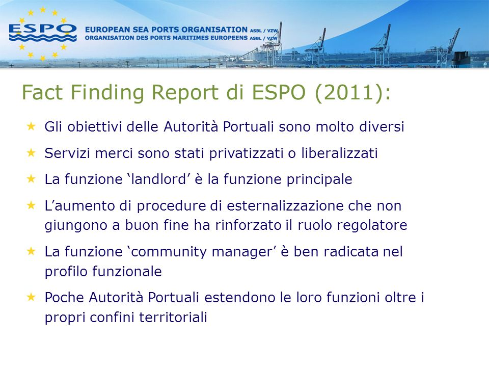 Fact Finding Report di ESPO (2011):