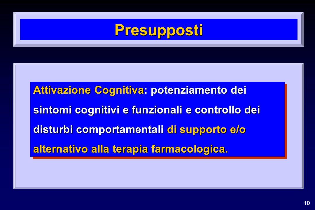 Presupposti Attivazione Cognitiva: potenziamento dei