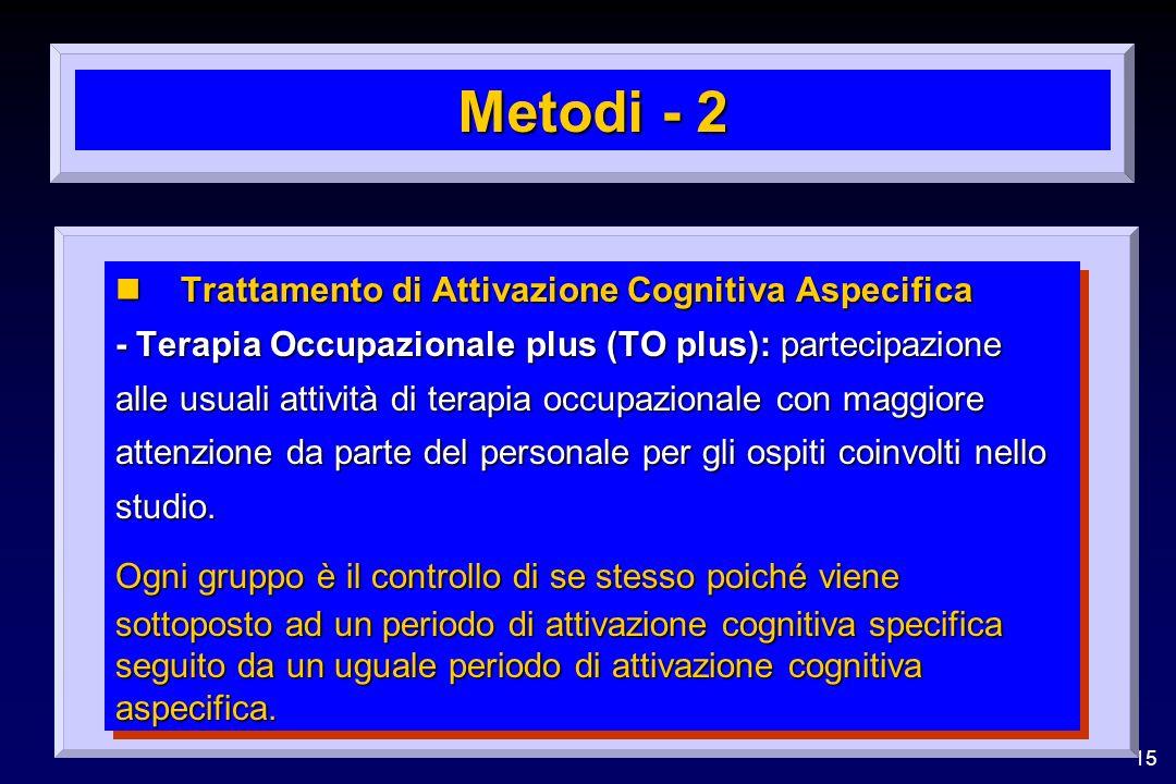 Metodi - 2 Trattamento di Attivazione Cognitiva Aspecifica