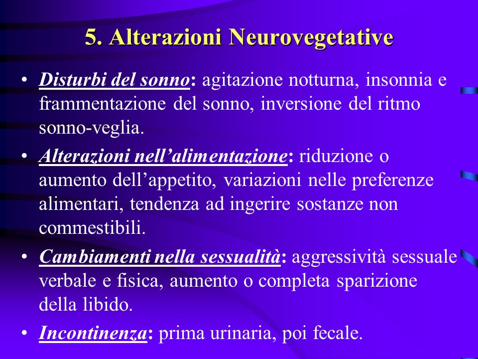 5. Alterazioni Neurovegetative