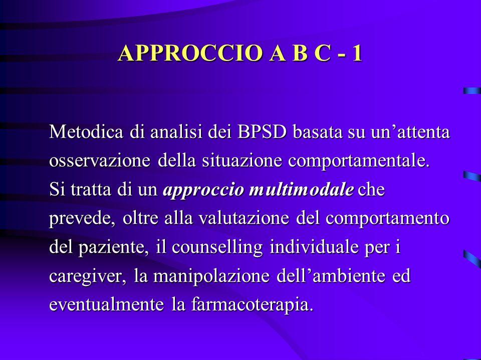 APPROCCIO A B C - 1 Metodica di analisi dei BPSD basata su un'attenta