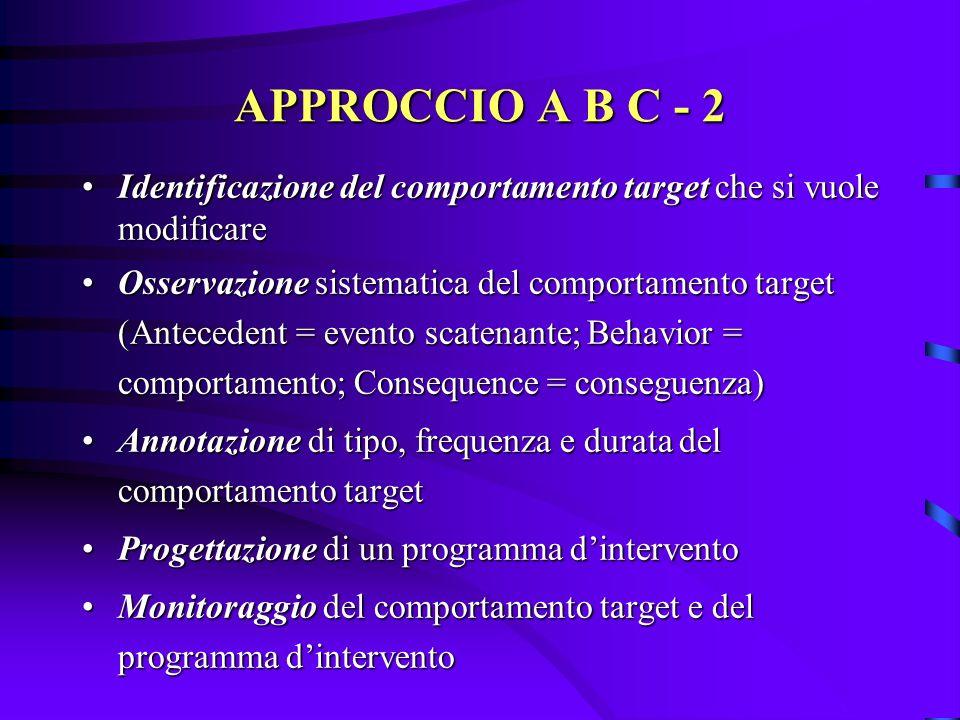 APPROCCIO A B C - 2 Identificazione del comportamento target che si vuole modificare.