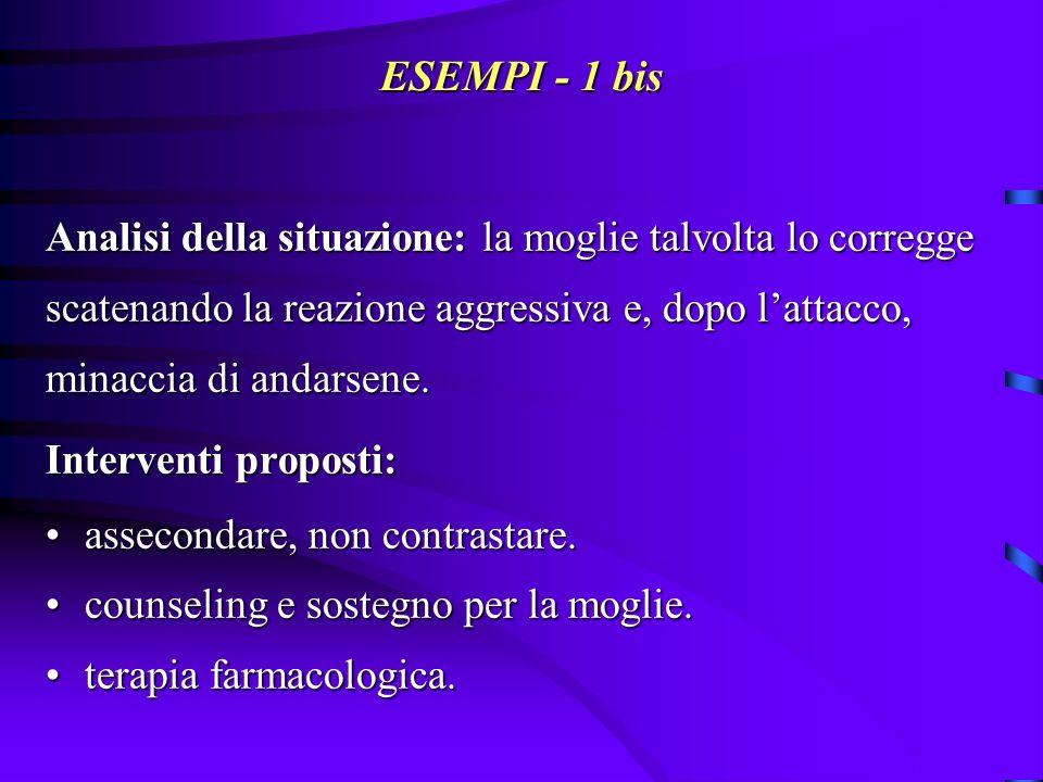 ESEMPI - 1 bis Analisi della situazione: la moglie talvolta lo corregge. scatenando la reazione aggressiva e, dopo l'attacco,