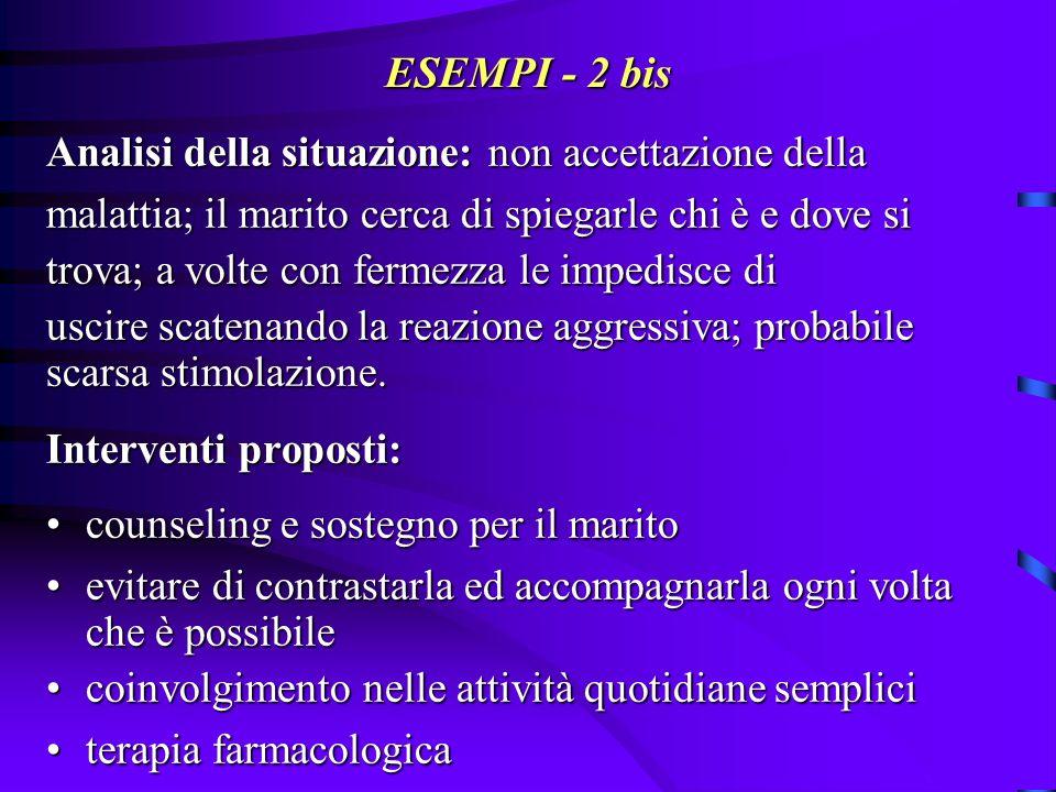 ESEMPI - 2 bis Analisi della situazione: non accettazione della