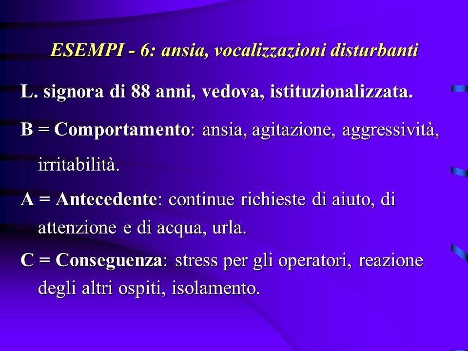 ESEMPI - 6: ansia, vocalizzazioni disturbanti