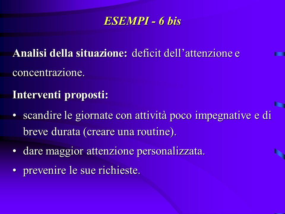 ESEMPI - 6 bis Analisi della situazione: deficit dell'attenzione e