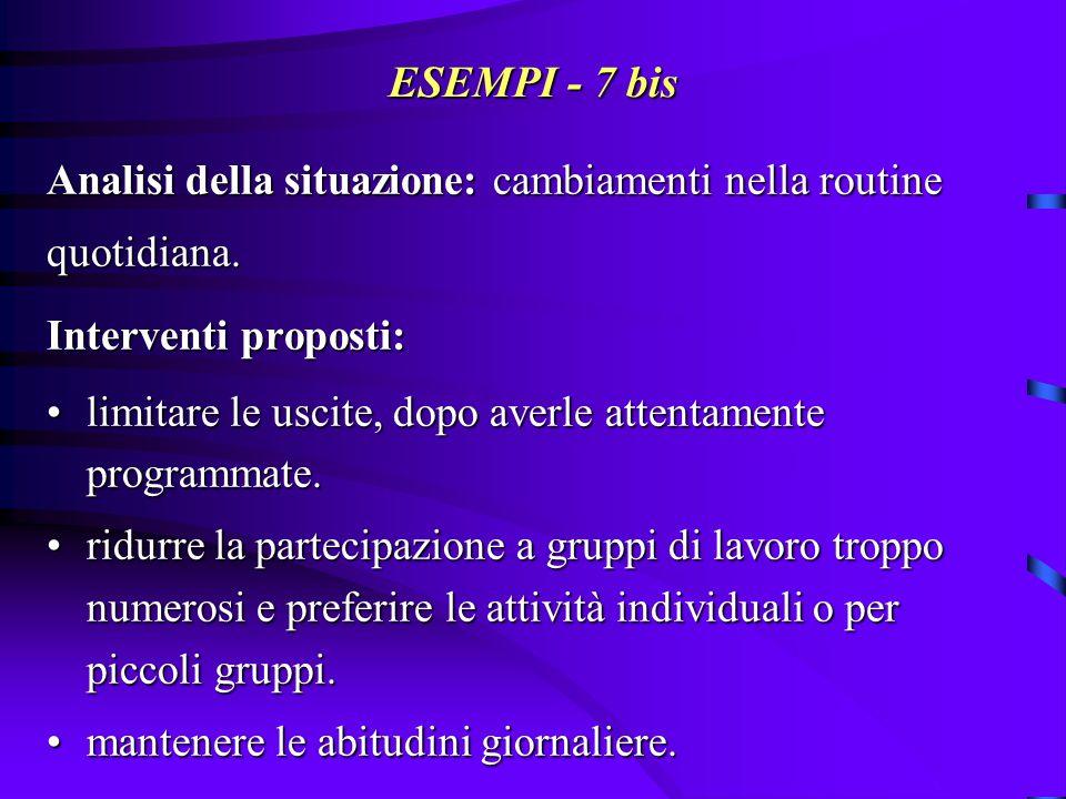 ESEMPI - 7 bis Analisi della situazione: cambiamenti nella routine
