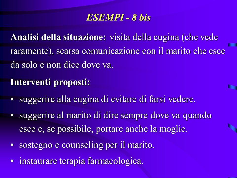 ESEMPI - 8 bis Analisi della situazione: visita della cugina (che vede