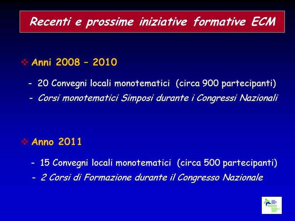 Recenti e prossime iniziative formative ECM