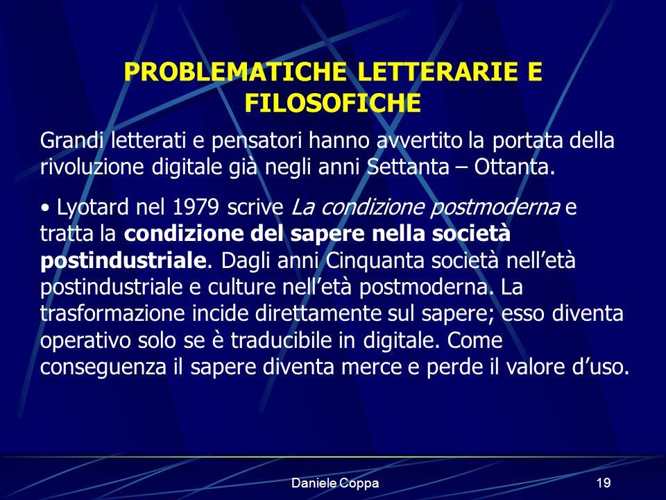 PROBLEMATICHE LETTERARIE E FILOSOFICHE