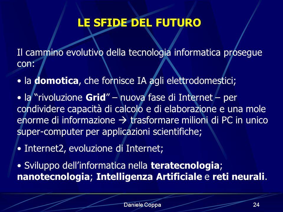 LE SFIDE DEL FUTURO Il cammino evolutivo della tecnologia informatica prosegue con: la domotica, che fornisce IA agli elettrodomestici;