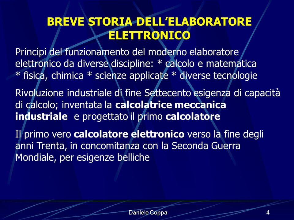 BREVE STORIA DELL'ELABORATORE ELETTRONICO