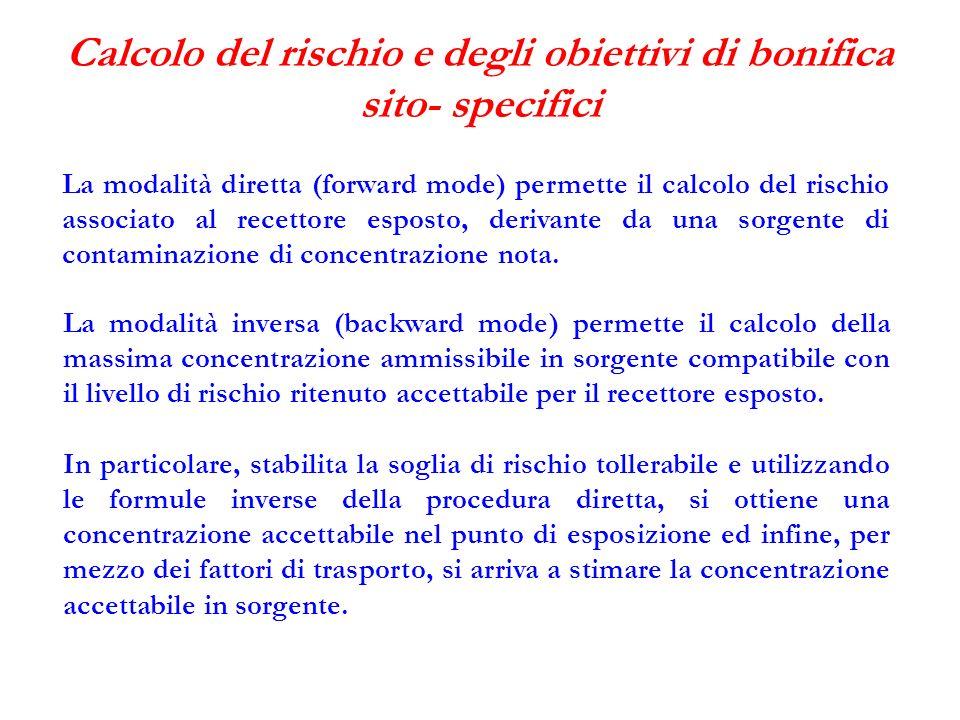 Calcolo del rischio e degli obiettivi di bonifica sito- specifici