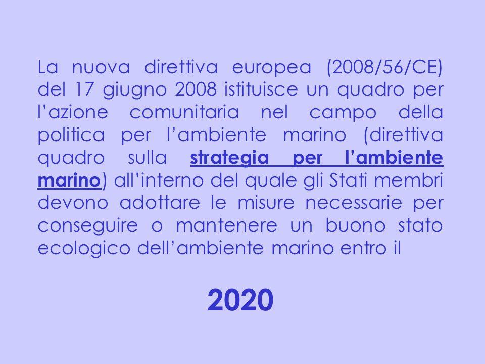 La nuova direttiva europea (2008/56/CE) del 17 giugno 2008 istituisce un quadro per l'azione comunitaria nel campo della politica per l'ambiente marino (direttiva quadro sulla strategia per l'ambiente marino) all'interno del quale gli Stati membri devono adottare le misure necessarie per conseguire o mantenere un buono stato ecologico dell'ambiente marino entro il