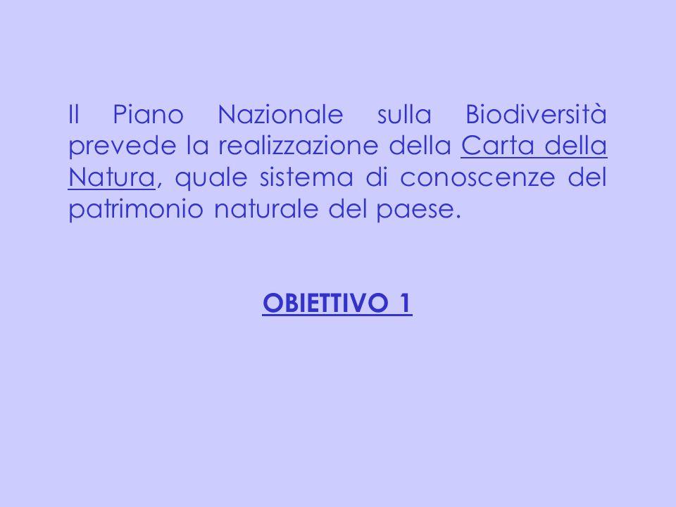 Il Piano Nazionale sulla Biodiversità prevede la realizzazione della Carta della Natura, quale sistema di conoscenze del patrimonio naturale del paese.