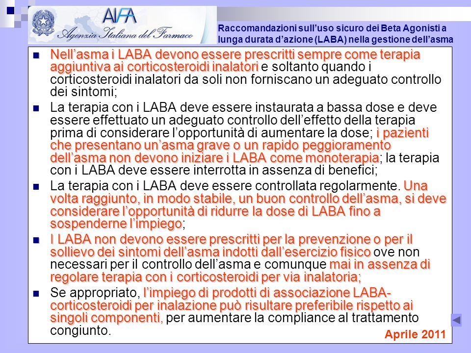 Raccomandazioni sull'uso sicuro dei Beta Agonisti a lunga durata d'azione (LABA) nella gestione dell'asma