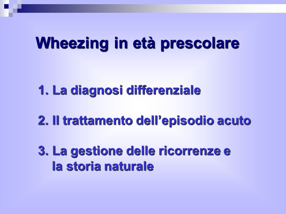 Wheezing in età prescolare