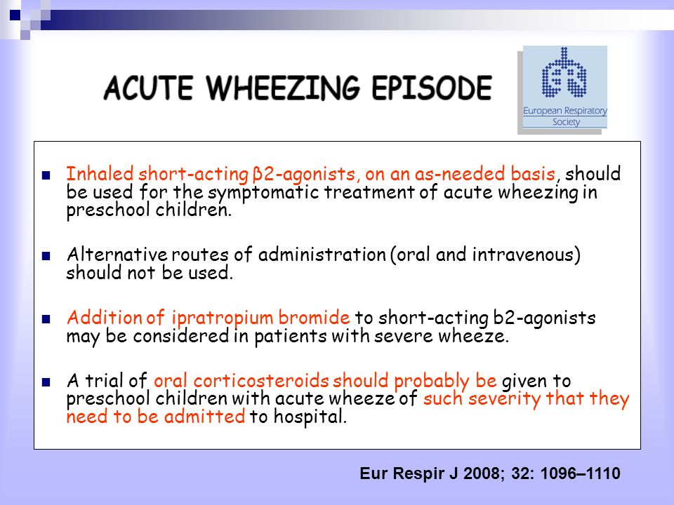 Inhaled short-acting β2-agonists, on an as-needed basis, should be used for the symptomatic treatment of acute wheezing in preschool children.
