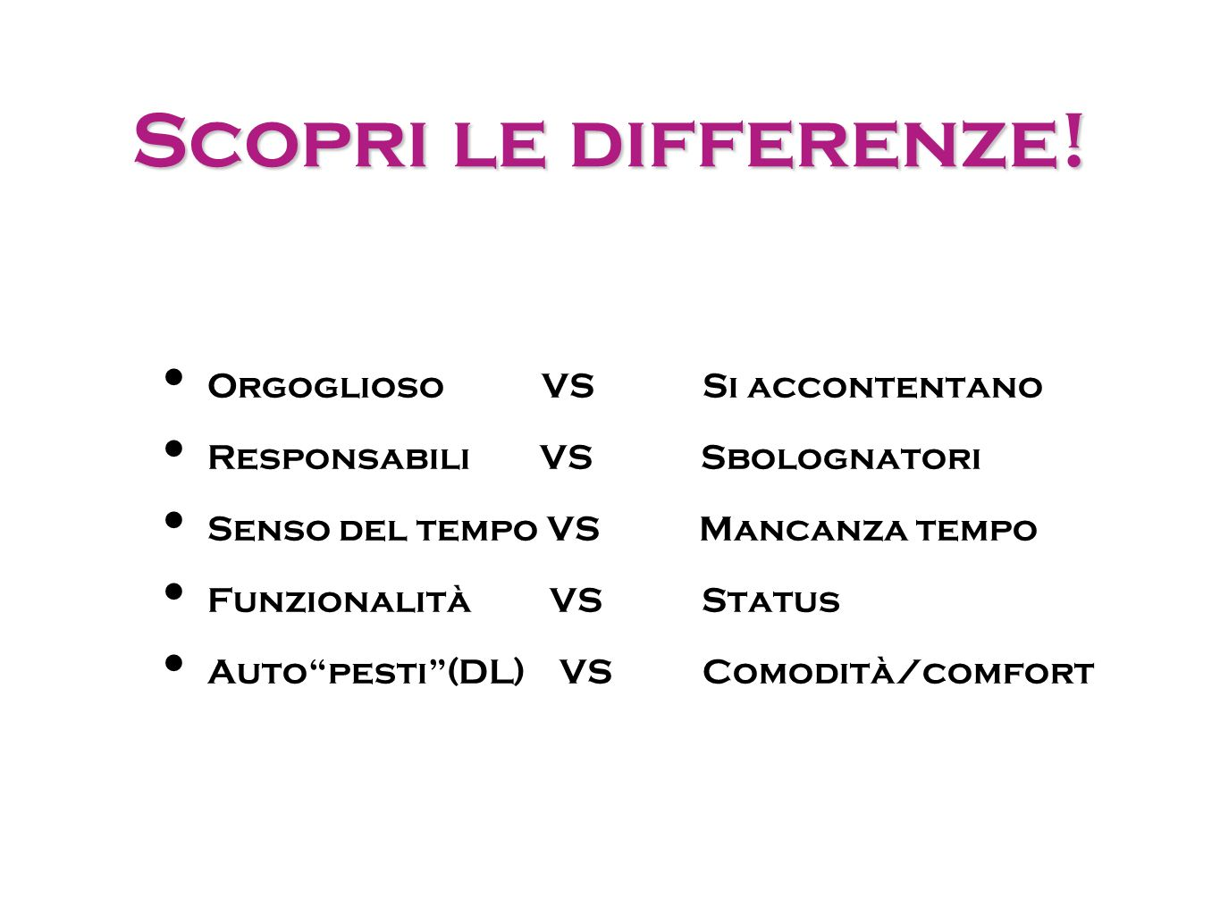 Scopri le differenze! Orgoglioso VS Si accontentano