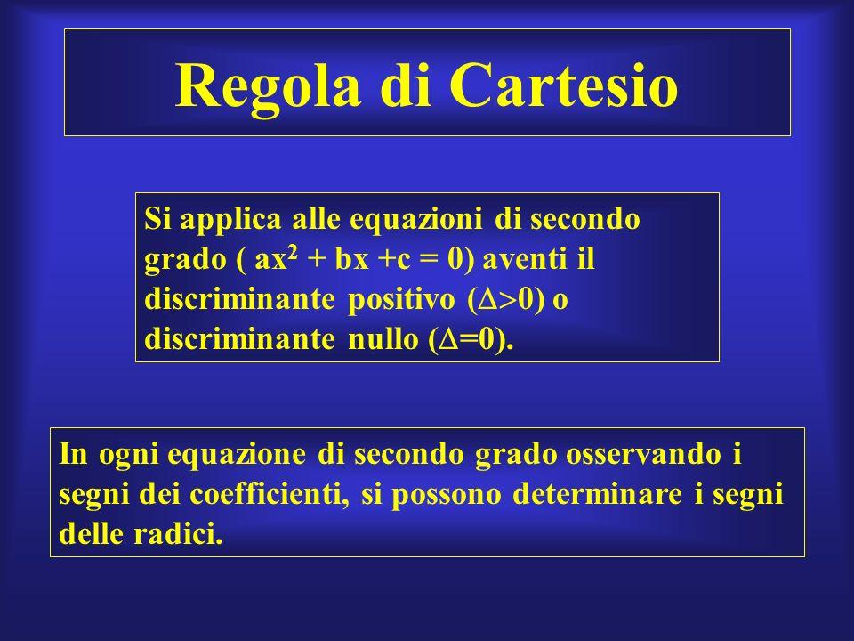 Regola di Cartesio Si applica alle equazioni di secondo grado ( ax2 + bx +c = 0) aventi il discriminante positivo (0) o discriminante nullo (=0).