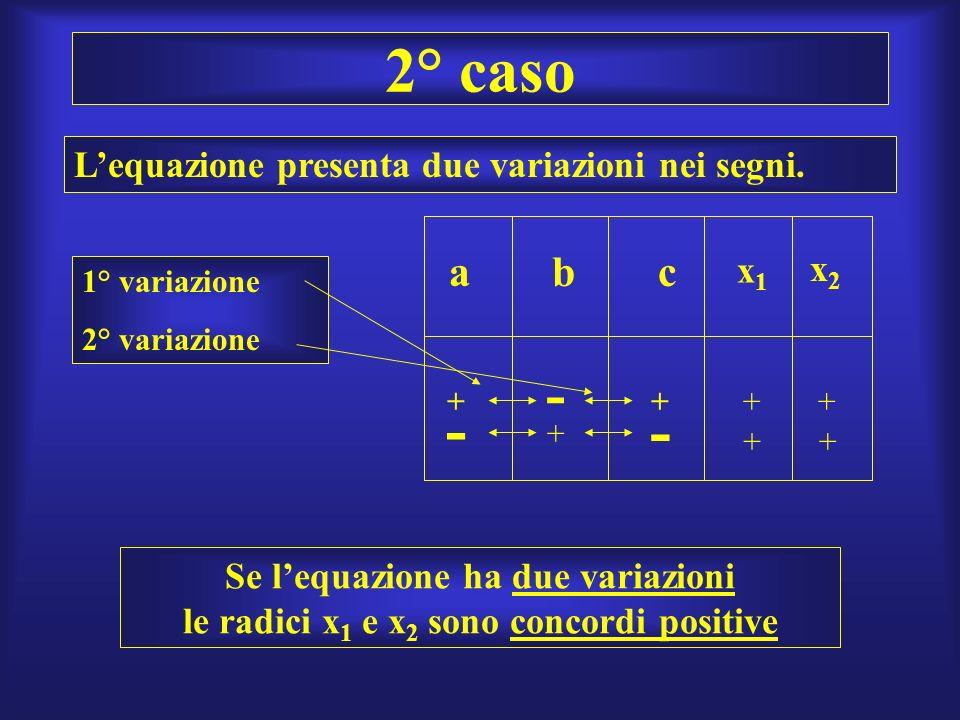 2° caso - - - a b c L'equazione presenta due variazioni nei segni. x1
